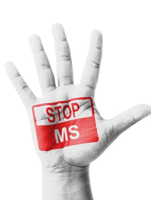 Open Hand Raised, Stop Ms (multiple Sclerosis) Sign Painted, Mul