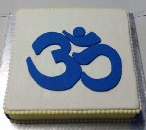 Aum cake in honour of Gururaj Ananda Yogi